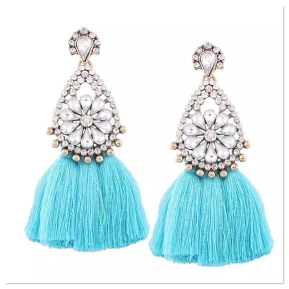 2f0c2fe24 Jewelry | Rhinestone Turquoise Tassel Earrings | Poshmark